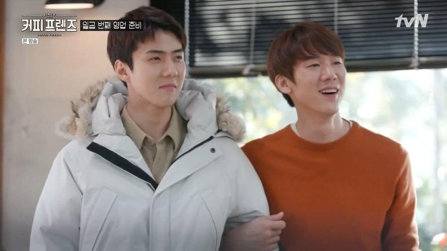 Sehun (EXO) et Yoo Yeon Seok dans Coffee Friends