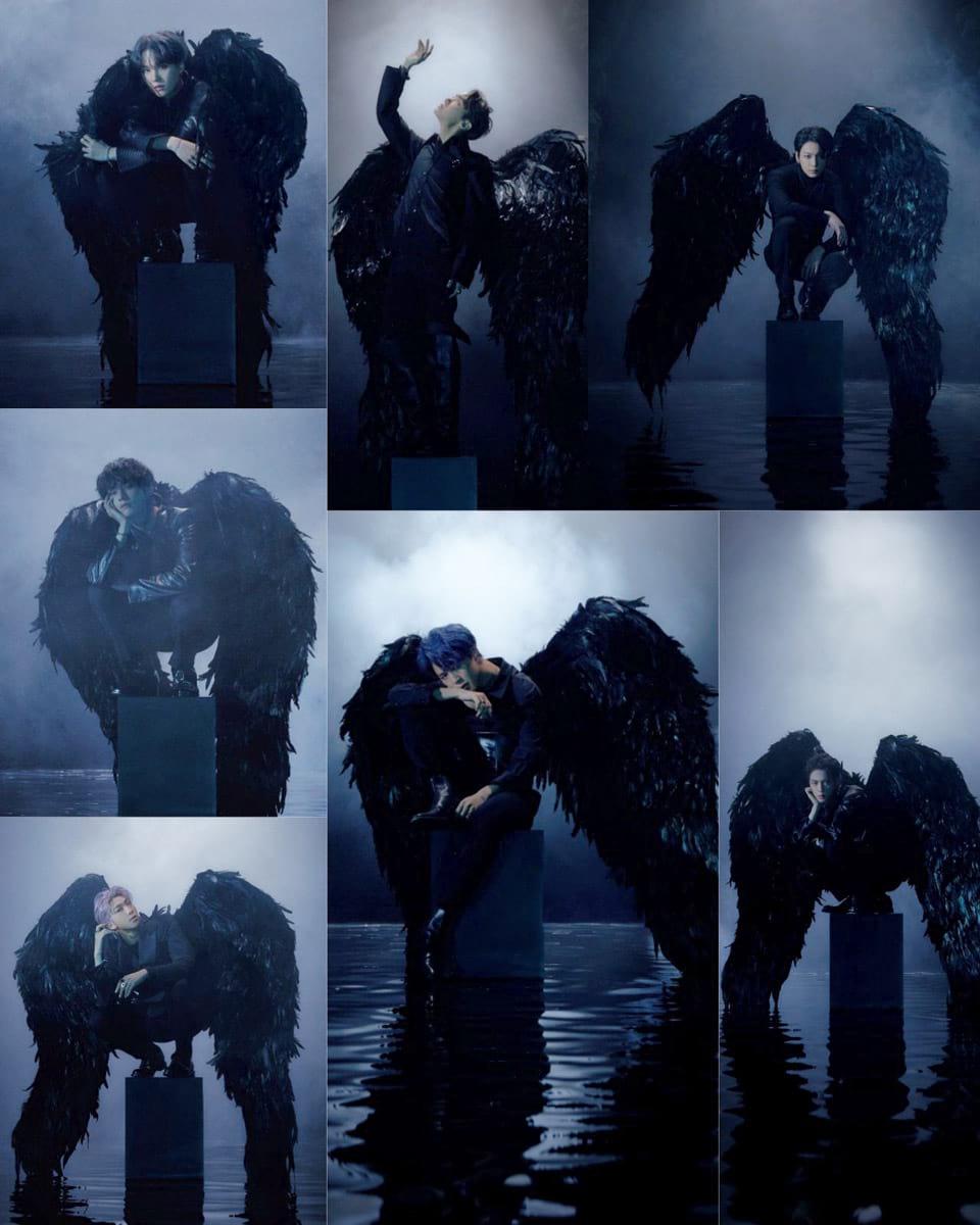 BTS en anges noirs avec des ailes